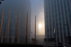 Fog Sunlight Reflection from One Canada Square Stock Photography