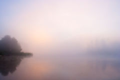 Lake Seliger: fog sunrise Royalty Free Stock Photo