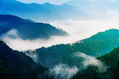 Fog and sunrise of moutain. Fog and sunrise on the top of moutain royalty free stock photo