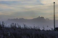 Fog and sunrise over Fredriksten fortress Stock Photo