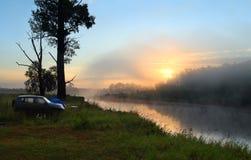 Fog sunrise on the river Stock Photography
