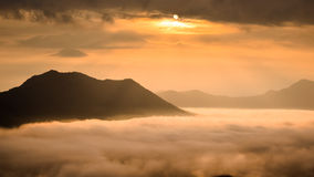 Fog on sunrise time landscape Stock Image