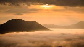 Fog on sunrise time landscape Stock Image