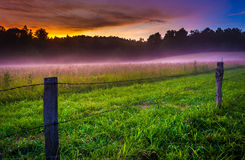 Fog at sunset at Cade's Cove, Great Smoky Mountains National Par Stock Photos