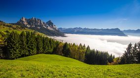 Fog surrounding Grosser, Kleiner Mythen, Lake Lucerne and Swiss Alps from Sattel in autumn, Switzerland stock footage