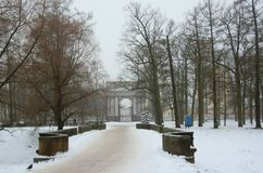 Fog, thaw and Orlov gate in the Catherine Park i Stock Photos