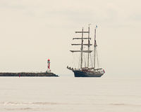 In the fog three masted in to a pier. In the fog  French three-masted ship moored for the night next to a pier after Swedens west coast 2013 Stock Photography