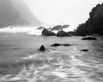 Fog Time Lapse Big Sur California. Black and White Soft focus slow shutterspeed fog Big Sir California Stock Image