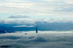 Fog in the tower. Early one morning, heavy fog around Taipei Royalty Free Stock Photography