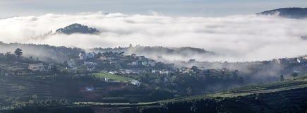 Fog in the town near Da Lat city Stock Photography