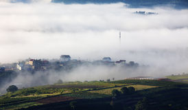 Fog in the Trai Mat town Royalty Free Stock Images