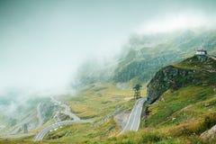 Fog on Transfagarasan road in Romania.  stock photo