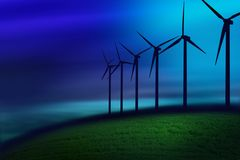 Fog on turbines. In a field with fog Royalty Free Stock Photos