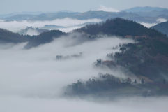 Fog in the valley Stock Images