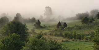 Fog on the valley 2. Sunrise in Transylvania. High density range image Royalty Free Stock Photos