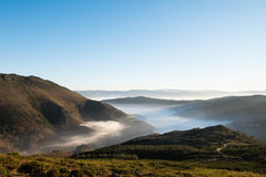 Fog in the Valley. Beautiful view of a misty valley in the north of Portugal. Serra do Marao, Portugal royalty free stock images