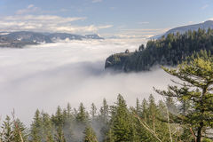 Fog in the valley Columbia River Gorge Oregon. Stock Photography