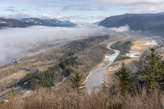 Fog in the valley Columbia River Gorge Oregon. Royalty Free Stock Images