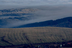Fog in the valleys. In autumn royalty free stock images