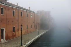 Fog in Venice near Arsenal Stock Photo