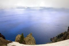 Cater lake with fog. A fog view of cater lake royalty free stock photo