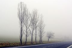 Fog in the village Royalty Free Stock Photography