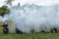 Fog of war ECW Scottish musket volley Stock Image