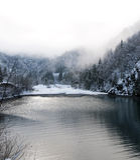 Fog on winter lake Stock Photos