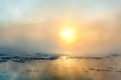 Fog in winter. Morning fog on the river in winter Stock Photography