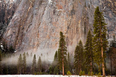 Fog in Yosemite Valley Stock Photo