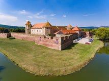Fogarasch medeltida fästning i staden av Fagaras Transylvania Arkivbilder