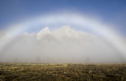 Fogbow forms over the Tetons on a foggy evening Royalty Free Stock Photo