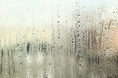 Fogged up glass with many drops, close up Royalty Free Stock Photos
