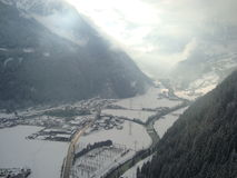 Foggey valley of Mayrhofen Stock Image