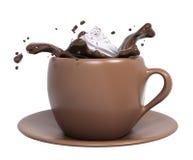 Foggi a coppa il cioccolato con panna montata, la rappresentazione 3d illustrazione di stock
