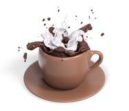 Foggi a coppa il cioccolato con panna montata, la rappresentazione 3d Fotografie Stock Libere da Diritti