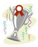 Foggi a coppa il trofeo con un nastro del reparto appuntato ed a coriandoli colorati Fotografie Stock