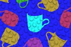 Foggia a coppa le forme differenti di colore sull'illustrazione blu del fondo 3D Fotografia Stock
