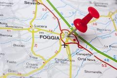 Foggia Italia en un mapa Imágenes de archivo libres de regalías