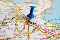 Foggia on map. With push pin Stock Photos