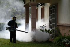 Fogging. To prevent spread of dengue fever stock photo