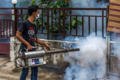Fogging DDT spray kill mosquito Royalty Free Stock Image