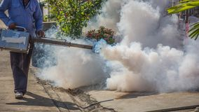 Fogging DDT spray mosquito kill for virus protect Stock Image