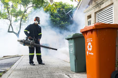 Fogging to eliminate aedes mosquito. Royalty Free Stock Image