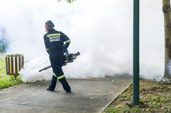 Fogging to eliminate aedes mosquito. Stock Photo