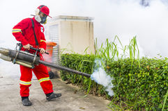 Fogging to eliminate aedes mosquito. Royalty Free Stock Photography