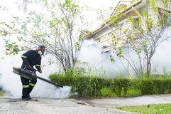 Fogging to eliminate aedes mosquito. Royalty Free Stock Photos