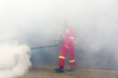 Fogging to eliminate aedes mosquito. Royalty Free Stock Photo