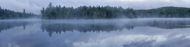 Foggy Adirondacks Lake Panorama Royalty Free Stock Photography