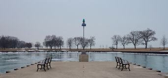 Foggy Afternoon At Belmont Harbor Stock Image